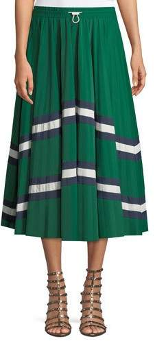 Valentino Jersey Lycra® Plisse Midi Skirt with Chevron Lace