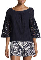 Trina Turk Coit Bell-Sleeve Cotton Eyelet Top