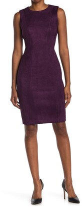 Calvin Klein Seamed Faux Suede Sheath Dress