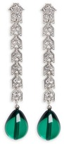 Kenneth Jay Lane Pear drop glass crystal pavé chain earrings