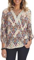 Democracy Women's Blouson Sleeve Top with Lace up Detail