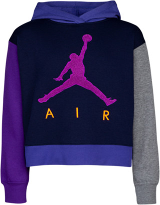 Jordan Jumpman Air Cropped Hoodie Sweatshirt - Blackened Blue / Rush Violet Voltage Purple