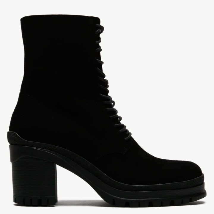 Daniel Pled Black Suede Lace Up Ankle Boots