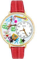 Whimsical Watches Personalized Preschool Teacher Womens Gold-Tone Bezel Red Leather Strap Watch