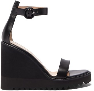 Gianvito Rossi Scalloped-sole Leather Wedge Sandals - Womens - Black