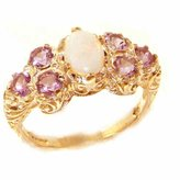 575 Denim Solid English Yellow 9K Gold Womens Large Opal & Amethyst Art Nouveau Ring - Size Finger Sizes 5 to 12 Available