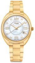 Fendi Momento Diamond, Mother-Of-Pearl & Goldtone Stainless Steel Bracelet Watch