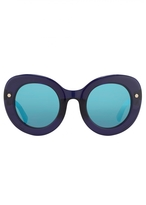 Matthew Williamson Navy Oversized Curved Cat Eye Sunglasses
