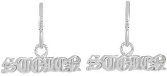 Stolen Girlfriends Club Silver Black Letter Sleeper Earrings