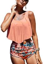 Zesica Women's Bikini Bottoms Pink - Pink Salmon Crop Ruffled Overlay High-Waist Tankini - Women