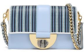 Diane von Furstenberg Stone Lock Bonne Journee Striped Faux Raffia-paneled Leather Shoulder Bag