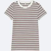 Uniqlo Women's Striped Ribbed Crewneck Short-sleeve T-Shirt