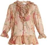 Zimmermann Corsair floral-print ruffle-trimmed blouse