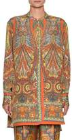Etro Paisley-Print Button-Front Silk Tunic