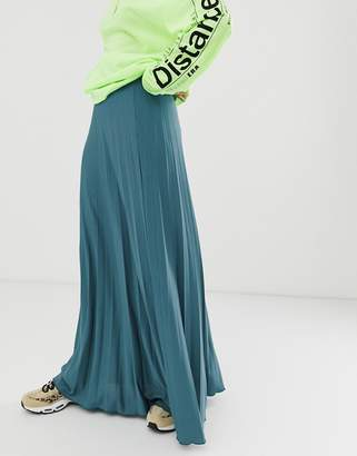Asos Design DESIGN pleated maxi skirt in jersey crepe-Blue