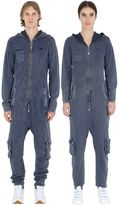 One Piece Denim Effect Cotton Piqué Jumpsuit