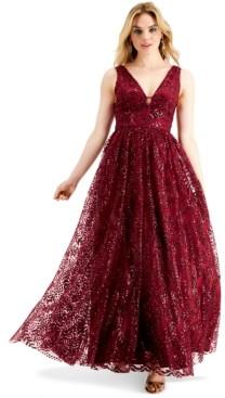 Blondie Nites Juniors' Glitter V-Neck Gown, Created for Macy's