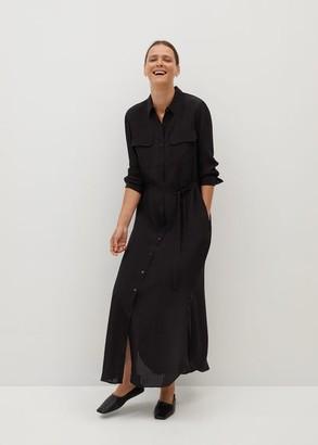 MANGO Long shirt dress black - 2 - Women