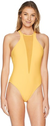 Sunsets Women's Bond Deep Plunge One Piece Swimsuit with Mesh Insert