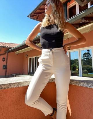 ASOS DESIGN pop slim suit pants in ivory