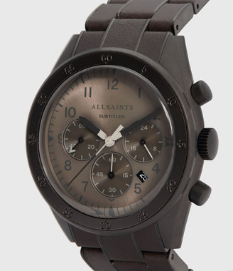 AllSaints Subtitled VIII Gunmetal Stainless Steel Leather-Wrapped Watch