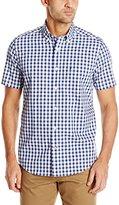 Nautica Men's Wrinkle Resistant Blue Plaid Short Sleeve Shirt