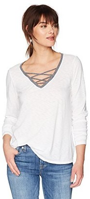 Michael Stars Women's Tee Long Sleeve V-Neck Ringer with Lace Up