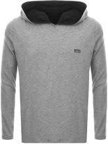HUGO BOSS Long Sleeved Hooded T Shirt Grey