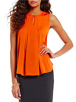 Antonio Melani Mykia Sleeveless Keyhole Pleated Neck Knit Top