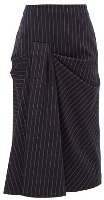 Alexander McQueen Draped Pinstriped Wool-twill Skirt - Womens - Navy Stripe