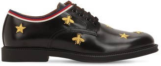 Gucci Embroidered Leather Lace-up Shoes