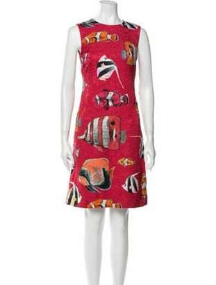 Dolce & Gabbana Printed Knee-Length Dress w/ Tags Red