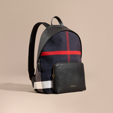 Burberry Canvas Check And Leather Backpack, Black