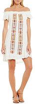 Jolt Embroidered Off-The-Shoulder Ruffle A-Line Dress