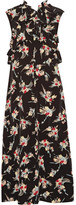 Marni Ruffled Floral-print Silk Crepe De Chine Midi Dress - Black