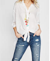 Express tie-front button down shirt