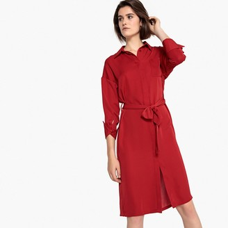La Redoute Collections Belted Shirt Midi Dress