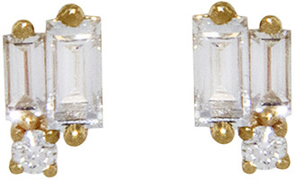 Suzanne Kalan White Diamond Round and Baguette Cluster Earrings - Yellow Gold
