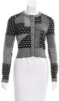 Oscar de la Renta Patchwork Scoop Neck Cardigan