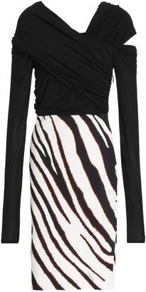 Roberto Cavalli Cutout Zebra-print Stretch-jersey Dress