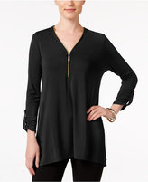 JM Collection Zip-Front Cuffed-Sleeve Top, Only at Macy's