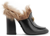 Gucci Shearling-lined Leather Mules - Black
