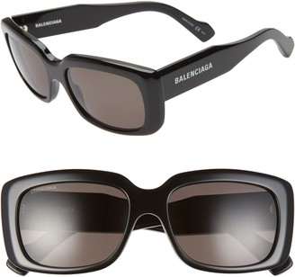 Balenciaga 56mm Rectangular Sunglasses