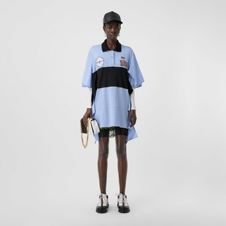 Burberry Drape Detail Striped Cotton Oversized Polo Shirt Dress
