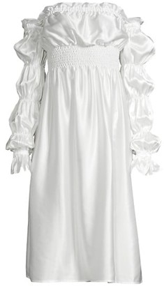 Sleeper Michelin Off-The-Shoulder Silk Dress