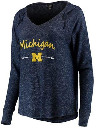 Unbranded Women's Heathered Navy Michigan Wolverines Cuddle Soft V-Neck Tri-Blend Hoodie