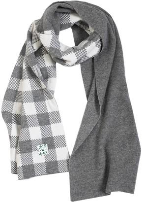Woolish Lara Checked Merino Scarf In Grey White
