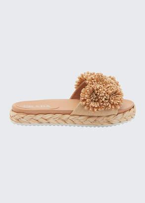 Prada Floral Raffia Slide Sandals