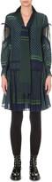 Sacai Pleated geometric-print crepe dress