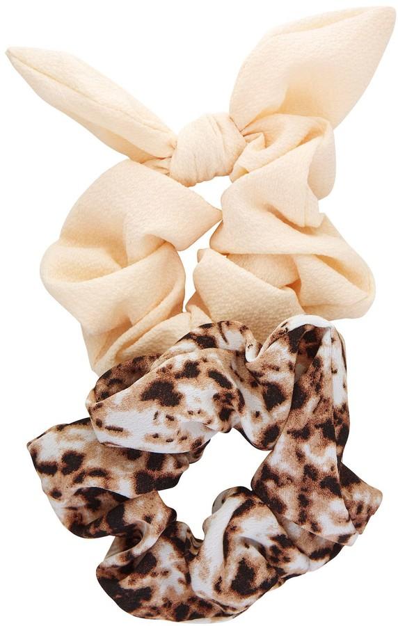 Lot of 2 Hair Scarf Scrunchies NWT Black /& White Stripe Snake Skin Print Bundle